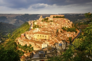 View of beautiful village Ragusa at sunset, Sicily