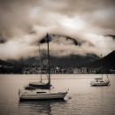 Sailboats, lake Achensee, Tirol, Austria. Toned in vintage monochrome style.