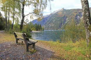 Bench along Achensee Lake in Tirol, Austria