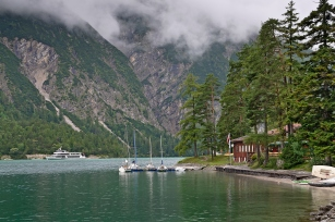Sailboats and ferry on lake Achensee, Tirol, Austria