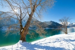 Mountain lake winter landscape, Alps, Achensee, Austria.