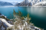Mountain lake winter landscape, Alps, Achensee, Austria