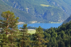 Achensee (Lake Achen) surrounded by mountains and forests in Austria