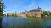 Hofvijver Pond with the Binnenhof complex in The Hague, Netherla